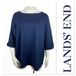 Lands End blue top with beads